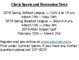 Clovis Sports and Recreation News