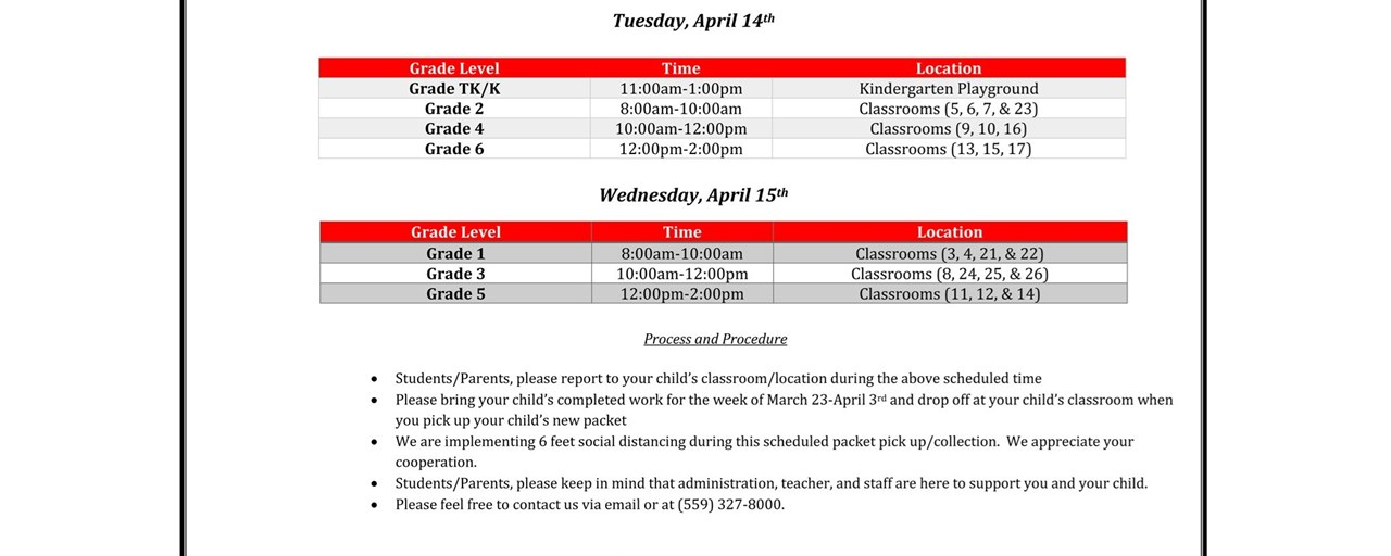 distance learning schedule april2020