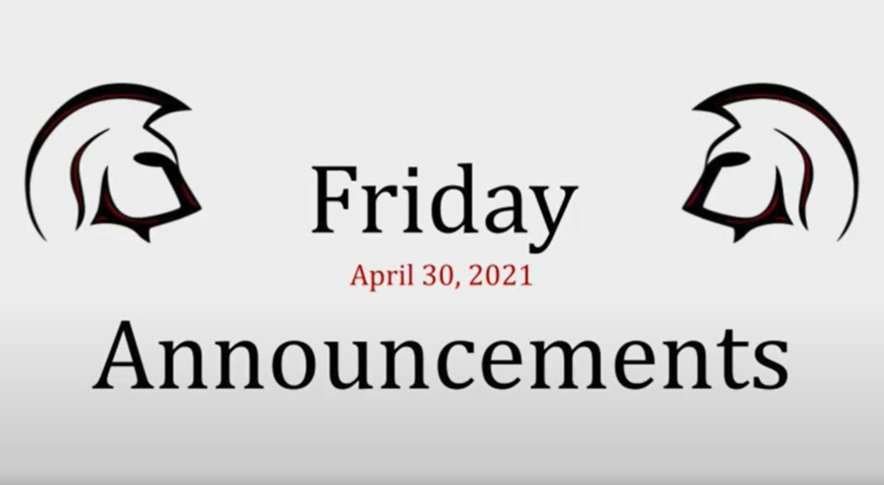 Friday announcements