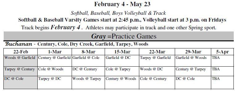 2019 spring sports schedule